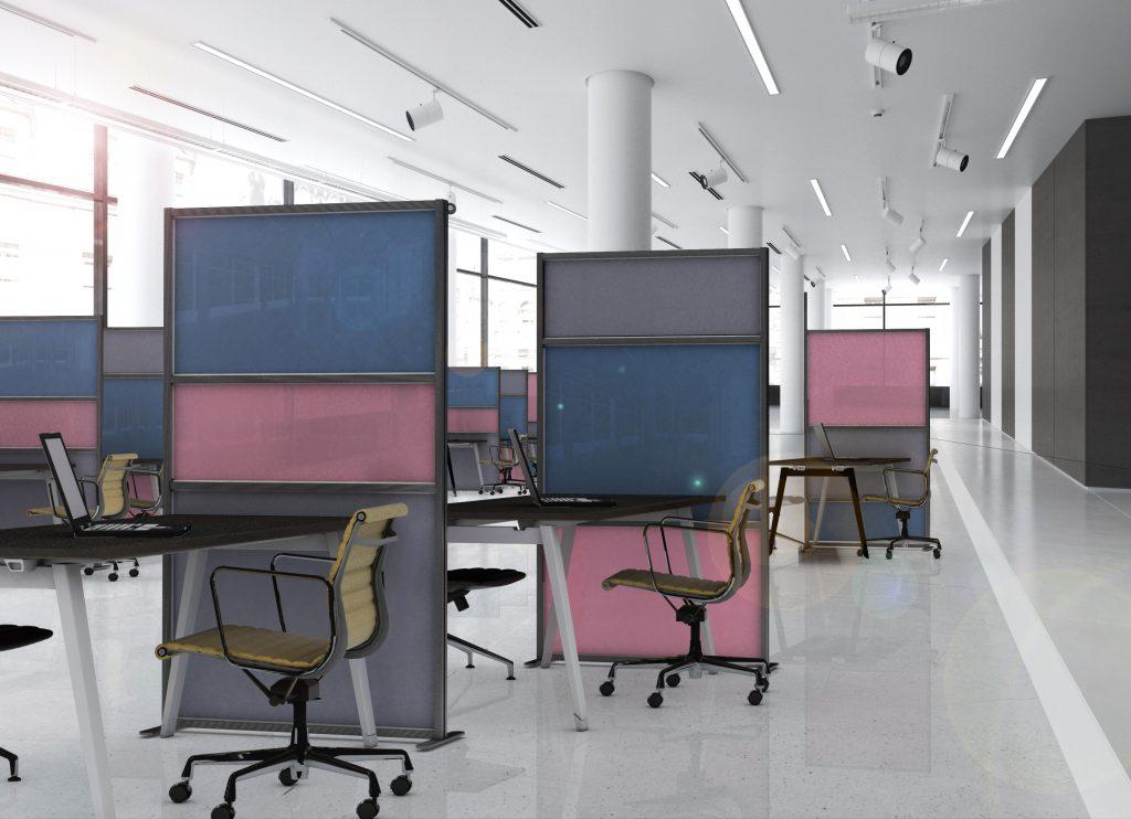 Spazio al colore con tetrix inuno divisori mobili per for Divisori mobili per ufficio