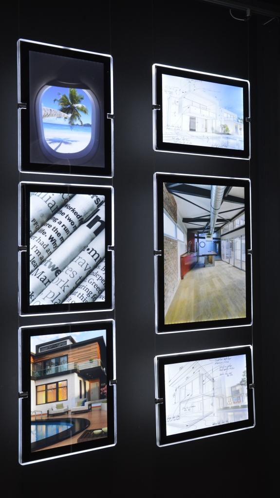 Sistema di quadri retroilluminati a led a vetrina 4xA4 Verticali - Studio T