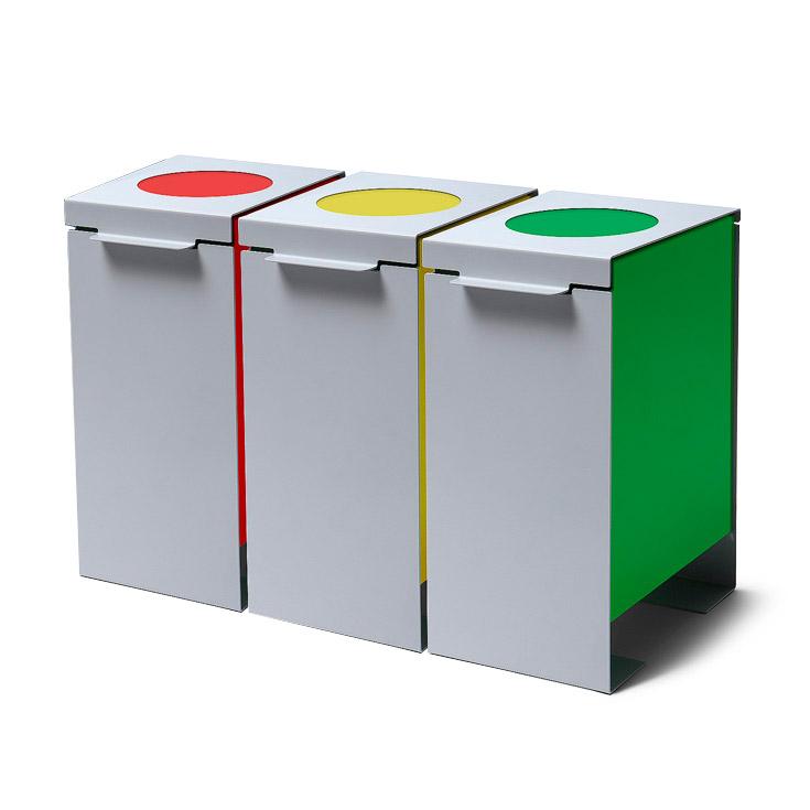 Kit di 3 bidoni raccolta differenziata per ufficio mense - Contenitori rifiuti differenziati per casa ...