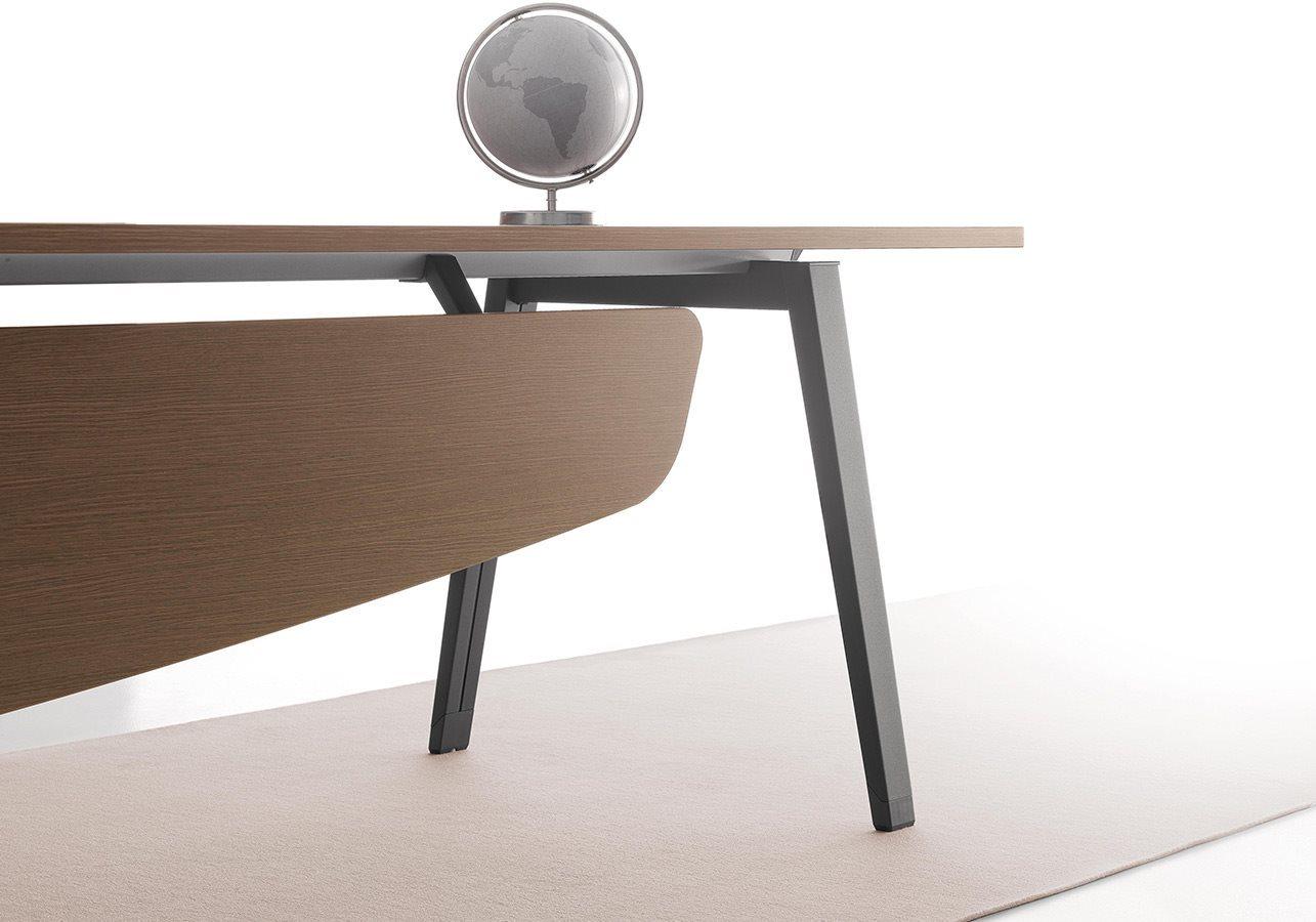 scrivania operativa per ufficio con ripiano in noce 180x80